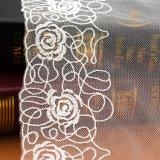 衣類のアイボリー3D花のレーヨンレースファブリックのためのジャカードレースファブリックメッシュ生地