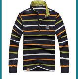 95%の綿5%のスパンデックス220GSMの悪感情の長い袖Ydの縞の刺繍のカスタムポロシャツ