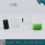 12ml botella de uñas de vidrio transparente cuadrado con tapa de tornillo