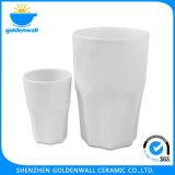 Tazza bianca bevente personalizzata della porcellana semplice di marchio