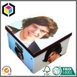 Caixa de armazenamento rígida do papel do cartão da dobradura de canto do punho do metal