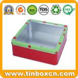 Quadratischer Zinn-Kasten mit Belüftung-Fenster, Metallzinn-Verpacken