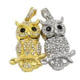 Golden Diamond Crystal Owl Genuine Capacity USB Flash Drive Pen