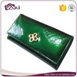 Бумажники новой конструкции роскошные кожаный для женщин, зеленых листьев выбитая повелительница Кожа Портмоне