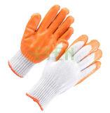 7 Indicador de naranja guantes de látex recubiertas de palma, de seguridad industrial de protección de Trabajo del hilo de algodón sumergió guantes