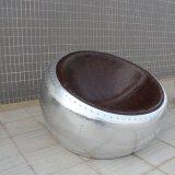 Retro Freizeit-Aluminiummond-Hemisphäre-Fußboden-Stuhl