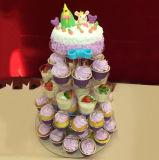 5 niveau clairement parti acrylique ronde gâteau d'anniversaire de mariage de support d'affichage