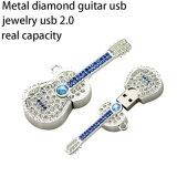 Azionamento a cristallo dell'istantaneo del USB della collana del metallo dei monili della chitarra del diamante