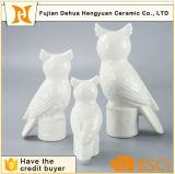 Figurine de coruja de cerâmica branca Artesanato de vela para decoração de casa