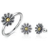 Anello di barretta del fiore dell'argento sterlina 925 antico ed insieme d'argento di Jeweley delle donne degli orecchini