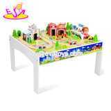 Новые популярные 80 ПК дети большие деревянные игрушки поезд с таблицей W04c084
