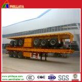 40-60tons 3 Oplegger van de Container van het Bed van Assen 40FT Flatbed Hoge