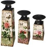 MDF dell'oggetto d'antiquariato dell'annata di disegno della Rosa del giardino S/3 di legno/supporto di candela di carta del trapezio decalcomania del metallo