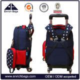 子供によって動かされる移動袋は車輪が付いている圧延のランドセルをからかう