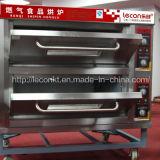 Industriële 2 Dekken 4 Oven van de Pizza van Dienbladen de Elektrische