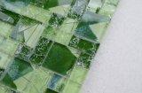 precio de fábrica de Foshan patrón verde roto el hielo crepitar mosaico de vidrio