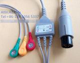 Cable médico del Leadwire ECG del broche de presión 3 del IEC del monitor 6pin
