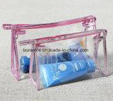 環境に優しい防水女性PVCジッパープラスチック透過旅行化粧品袋