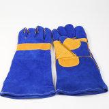 安全溶接のための青い革溶接手袋