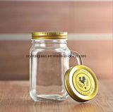 ハンドルが付いているロゴによって刻まれる石大工のガラス飲む飲料の瓶をカスタマイズしなさい