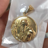 ネックレスかブレスレットP1001のために吊り下げ式鋼鉄宝石類の宗教硬貨の形の奇跡的なメダル