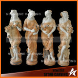 Mischfarbe geschnitzte Steinmarmorvierjahreszeitendame Statues mit Fruites