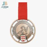 カスタム合金の鋳造は空が付いている青銅色の金属の柔道メダルを刻む