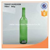 750ml orange ou verte des bouteilles en verre de vin avec bouchons en liège