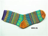 La mujer calcetines coloridos