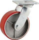 H6 Hochleistungstyp Roheisen-Kern PU-seitlicher Bremsen-Typ Fußrolle