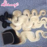 Capelli umani di Remy dei capelli della chiusura del merletto di colore di Ombre