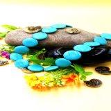 Halsband van de Parels van het Wafeltje van Stablized de Turkooise Blauwe