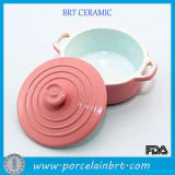 Round Kitchen Appliance Pink Dutch Oven com alça