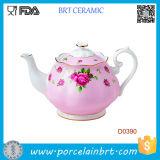 Teiera di ceramica dell'annata convenzionale bianca dei coriandoli della Rosa
