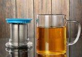 tazza di tè di vetro dell'ufficio 450ml con la tazza di vetro dell'ufficio del regalo variopinto del filtrante con il coperchio