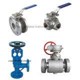 Válvula de esfera de globo de controle pneumático / manual de aço inoxidável de 2/3 vias