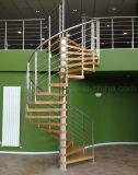 Preço espiral de madeira da escadaria do aço inoxidável da alta qualidade com etapa contínua das escadas da madeira