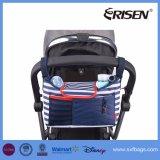 Saco do tecido do saco do organizador do carrinho de criança com suportes de copo e cinta de ombro
