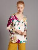 Long chemisier de satin de chemise d'impression floral