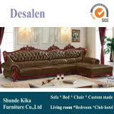 Europa sofá, sofá de cuero, sofá de madera, América sofá (A37)