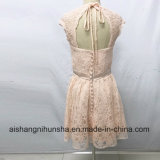Vestido curto aberto do banquete de casamento do Joelho-Comprimento dos vestidos da dama de honra do laço para trás