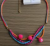 Bohemia Colorido Multi-Row Bracelet com tecido, cordão, PU e Seedbead