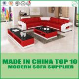 Живущий комната l кровать софы неподдельной кожи формы