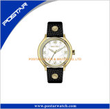 Versão preta Cool Style Crystal Glass Relogios Leather Band Watch