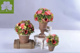 Миниые цветки Rose в бумажной урне Mache для домашнего Deco