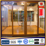 Двойные стеклянные алюминиевые деревянные раздвижные двери с построено в лезвиях