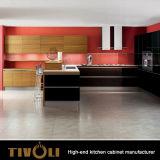 新しい流行の台所は白くおよび黒い絵画食器棚Tivo-0021Vを設計する