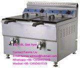 Contro friggitrice superiore del gas dell'acciaio inossidabile con il termostato