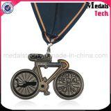 No MOQ Antiguo Nickle forma de la bicicleta Medallas de Medalla de Deportes Personalizados