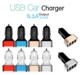 Smooth Mini Car Charger Dual 3 * Ports Adaptador USB para All Smart Phone 5V 2.1A, USB Car Charger para Samsung, iPhone